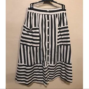 Who What Wear striped birdcage skirt with pockets
